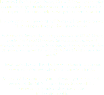 "I created The 5 Finger Theory Game & Love Test to offer a guidance system where you can navigate yourself to an aspect, which may help serve your current situation. It is based on a Theory of Self Balance I created called ""The 5 Finger Theory"" The Theory states: ""Balance between the 5 departments of Mind, Heart, Body, Soul and Purpose, helps sustain internal equilibrium, consequently optimizing your energy flow so you have more to give your loved ones and the world"" These aspects can then be broken down into various areas you can see extending from each finger. As part of the community we will email you a printable version of the full 5 Finger Theory to see all the aspects as a quick reference guide for holistic health."